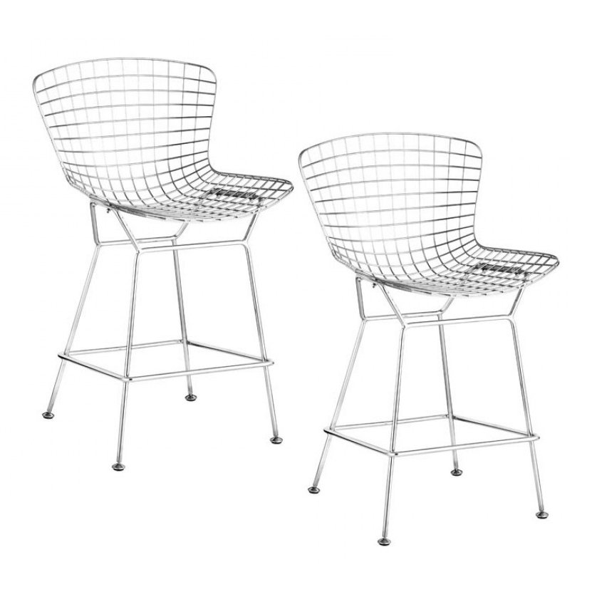 Fine Bellmont Bertoia Wire Counter Chair Set Of 2 Theyellowbook Wood Chair Design Ideas Theyellowbookinfo