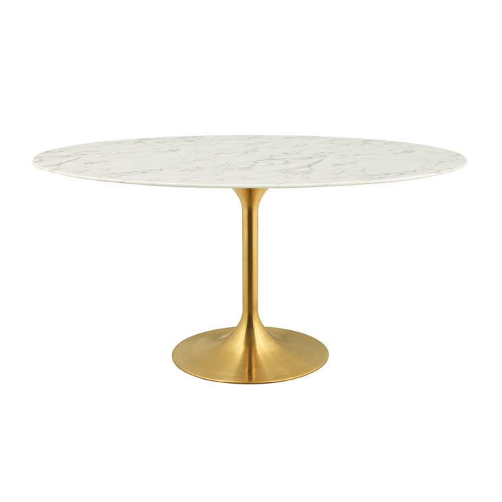 60 Oval Tulip Dining Table Gold Base