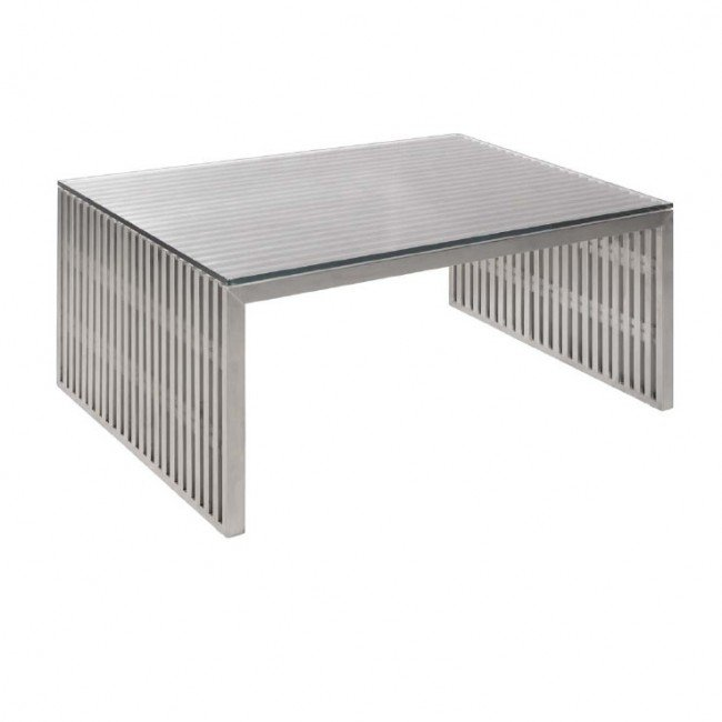 Merveilleux Stainless Steel Slat Coffee Table Glass Top