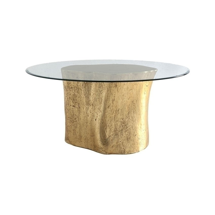 Log Glass Top Table Gold Honormill Furniture