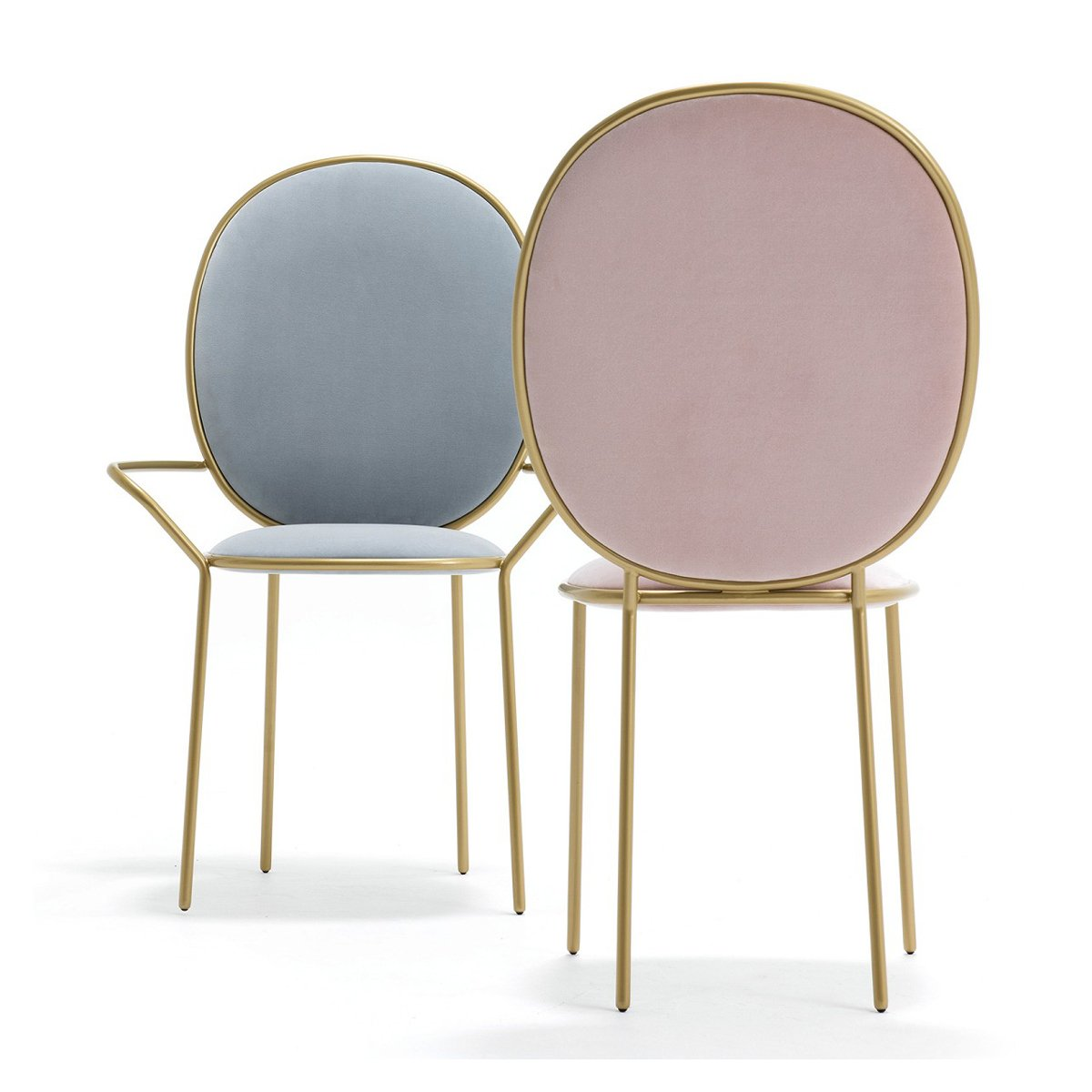 Replica Stay dining chair and armchair - blue and blush