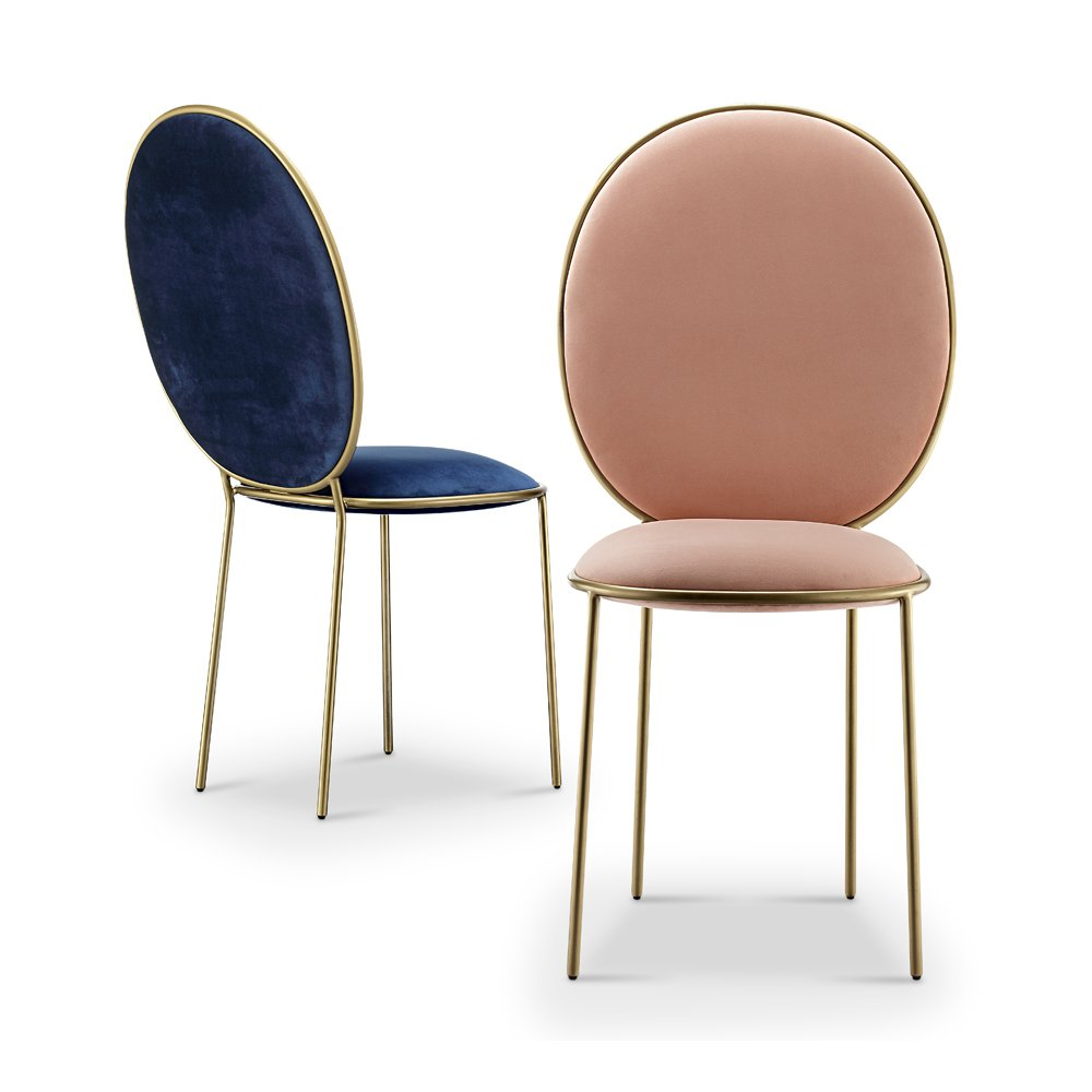 Replica Stay dining chairs - blue and blush