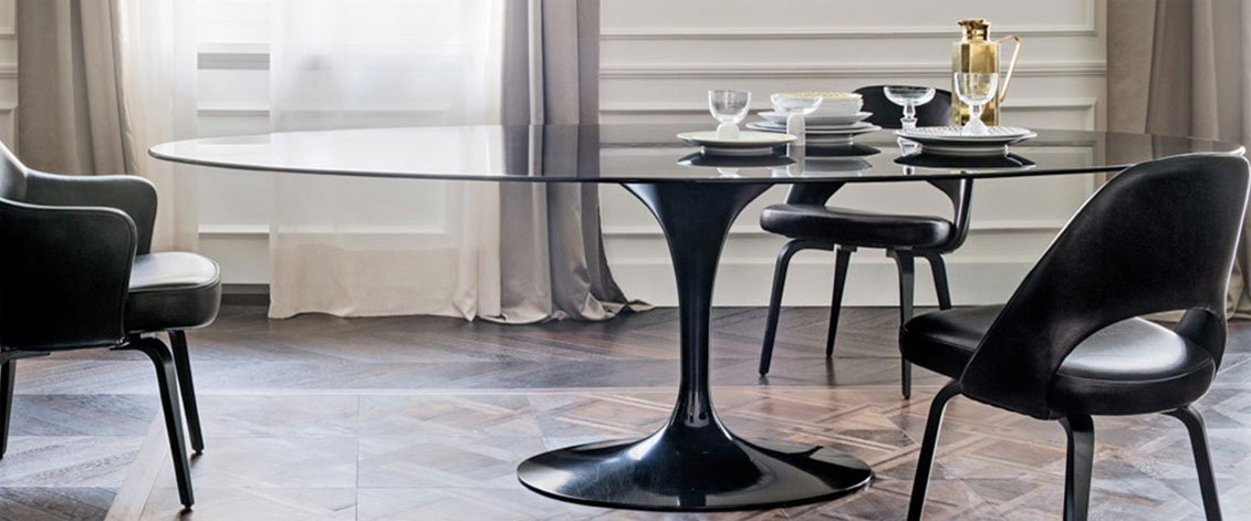 Black Marble Saarinen Oval Tulip Dining Table